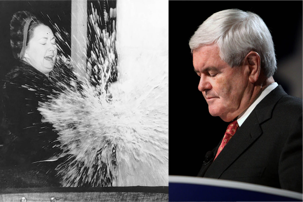 Margaret Mitchell (L), Newt Gingrich (R)