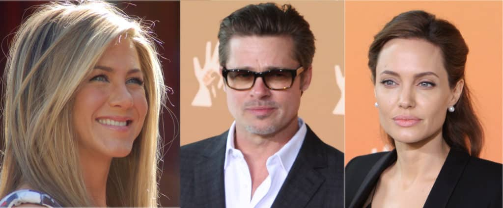 Jennifer Aniston, Brad Pitt, and Angelina Jolie
